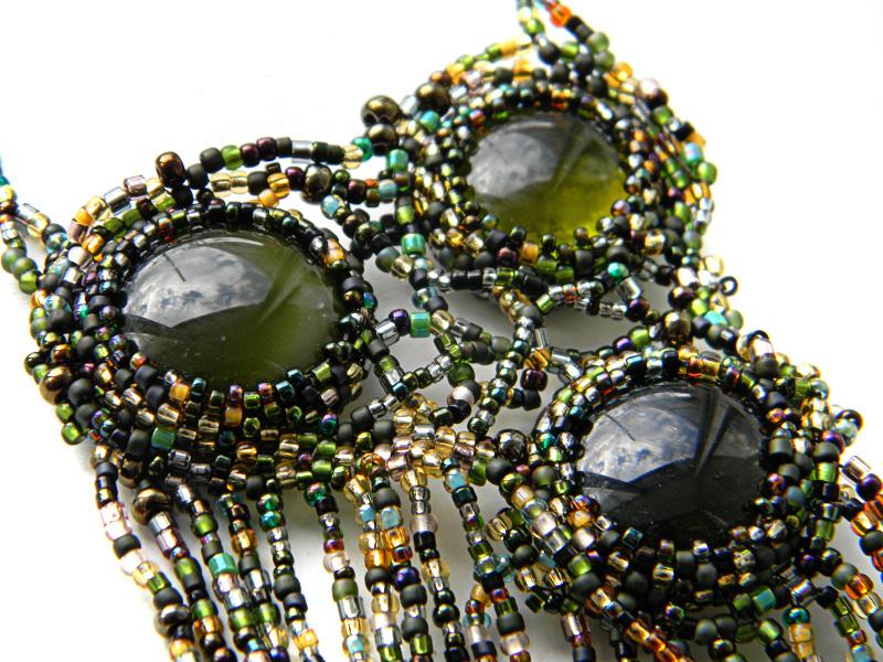 купить украшения из исера бохо колье зеленый кулон анабель