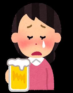 酔っぱらいのイラスト(女性・泣いた顔)