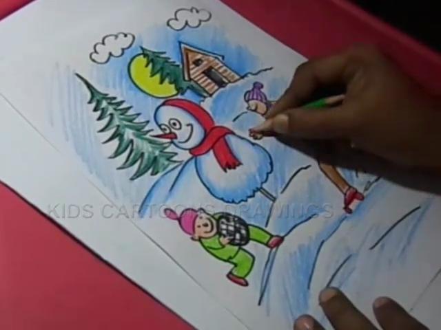 kids cartoon drawings how to draw winter season color