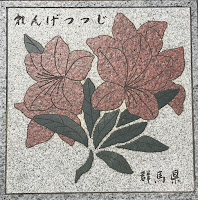 A picture of one of the plaques in the ground around the 5km walk around the Imperial Palace. This shows Gunma's prefectural flowe, the Japanese azalea