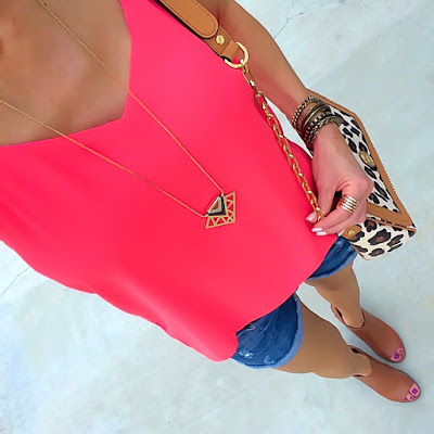 Express Barcelona Cami, Jean Shorts, Tory Burch Kerrington Ocelot