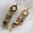 Goldtone Earrings with Rhinestones & Chains