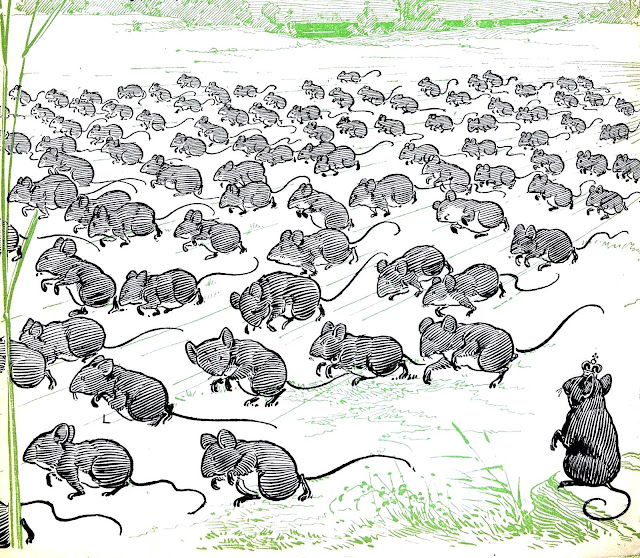 A William Wallace Denslow book illustration of mass mouse migration