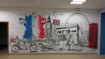 Mural w szkole, malowanie graffiti 3D na terenie szkoły, mural w klasie językowej, malowanie murali w szkołach, klasach, korytarzach