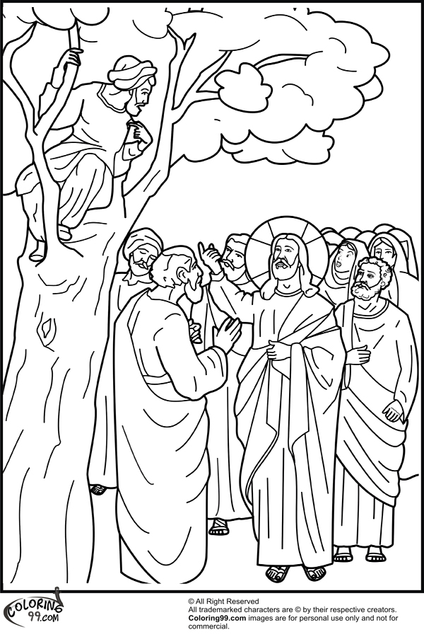 Zacchaeus Coloring Page With Text Coloring Pages