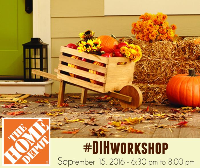 Attend a Do-It-Herself Workshop at your local Home Depot this September and learn to make a rustic wood wheelbarrow.