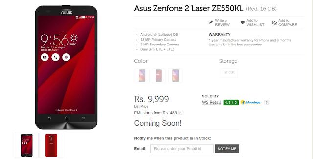 online store e1e22 e4a46 Flipkart | Buy Asus Zenfone 2 Laser ZE550KL @ Rs 9,999