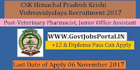 CSK Himachal Pradesh Krishi Vishvavidyalaya Recruitment 2017– 32 Veterinary Pharmacist, Junior Office Assistant