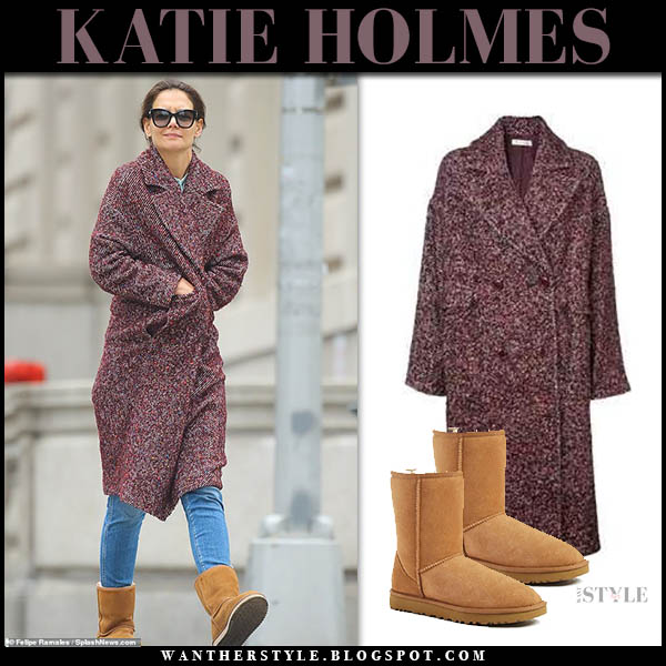 Katie Holmes in red tweed coat ulla johnson frances and chestnut suede ugg bootsj winter street style january 8