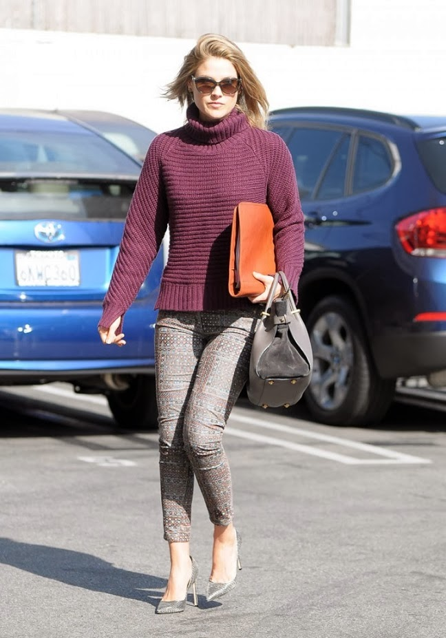 Ali Larter in maroon sweater with Etoile Isabel Marant Skinny jeans