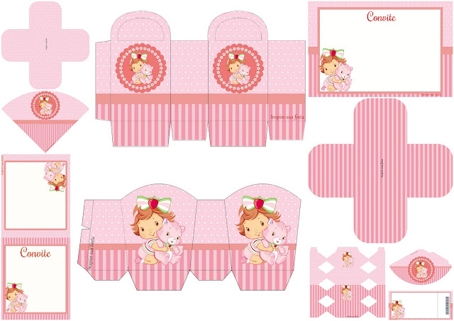Cute Strawberry Shortcake Baby: Free Printable Invitations, Boxes and Free Party Printables.