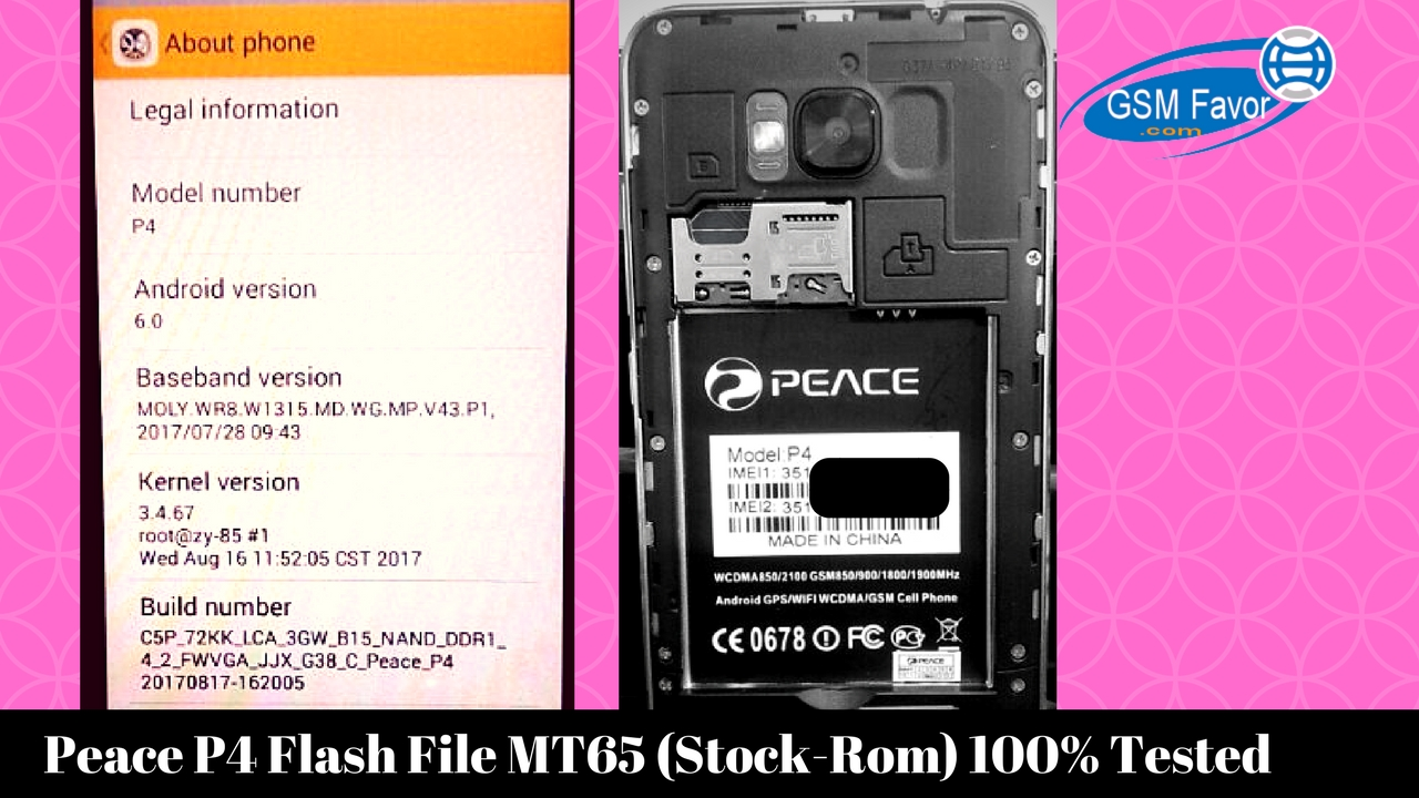 Peace P4 Firmware Flash File MT6572 6 0 (Stock-Rom) 100% Tested Free
