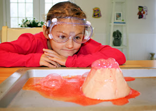 What lesson on volcanoes would be complete without the classic baking-soda-and-vinegar volcano lab? I think we'll shoot for something a little more dramatic our next time around.