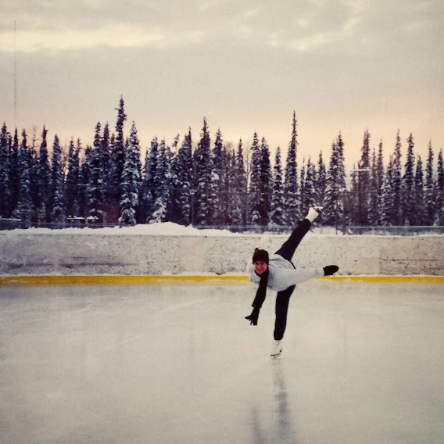 figure skating outside in Alaska