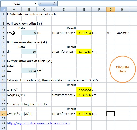Calculate circumference of a circle in excel   My Computer