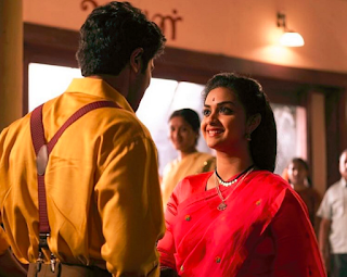 Keerthy Suresh in Red Saree with Cute and Lovely Smile with Dulqer Salmaan in Mahanati