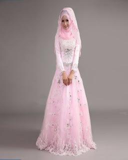 gaun pengantin muslimah warna putih