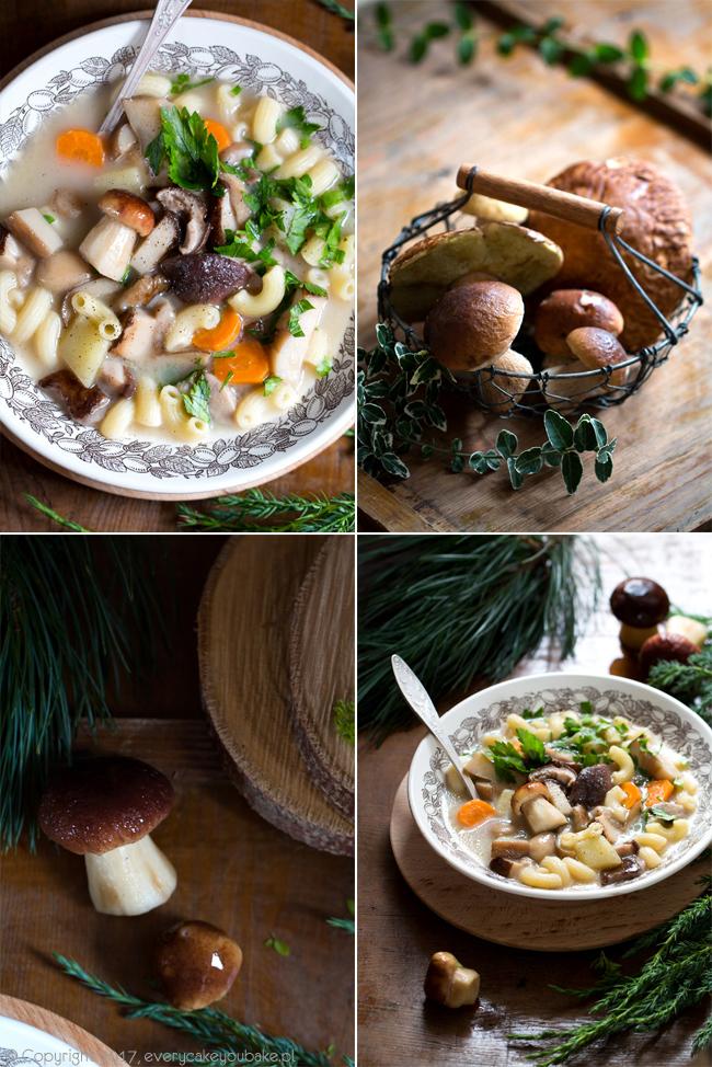 zupa borowikowa ze świeżych grzybów z makaronem i śmietaną