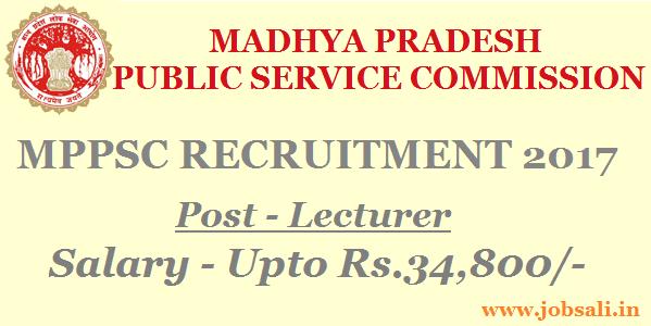 MPPSC Vacancy 2017, MPPSC Lecturer Vacancy 2017, MPPSC MPonline