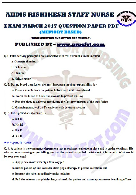 DOWNLOAD PREVIOUS STAFF NURSE EXAM PAPERS PDF AND MODAL PAPERS - sample staff paper