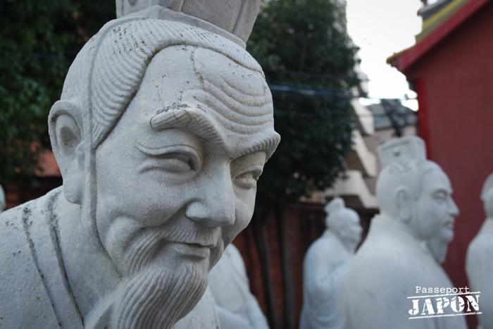 Statue d'un disciple de Confucius, détail, temple Kôshi-byô, Nagasaki