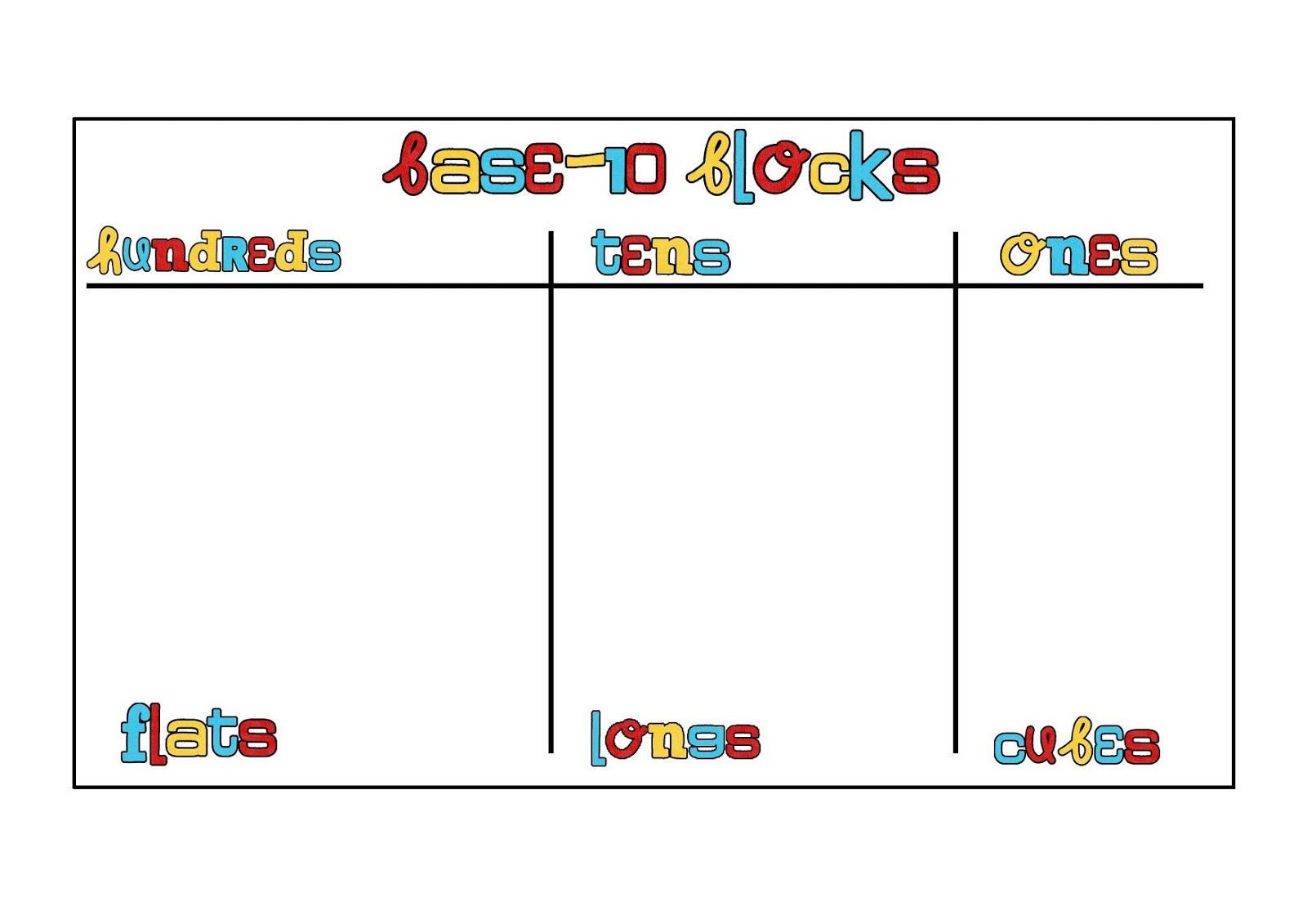 Tales Of A First Grade Teacher Base Ten Mat Freebie