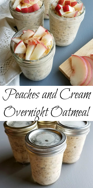 Creamy, dreamy and delicious, these overnight oats make the morning so easy.  Just grab and jar and a spoon and hit the road! If you want to serve to guests, you can dress them up with a few more fresh chopped peaches, a drizzle of honey and a sprinkle of cinnamon. Either way, you'll be glad you did it!