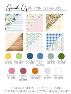 These handy reference images help you to pick the coordinating colors of ink and card stock to match each of the printed paper sets from Fun Stampers Journey.