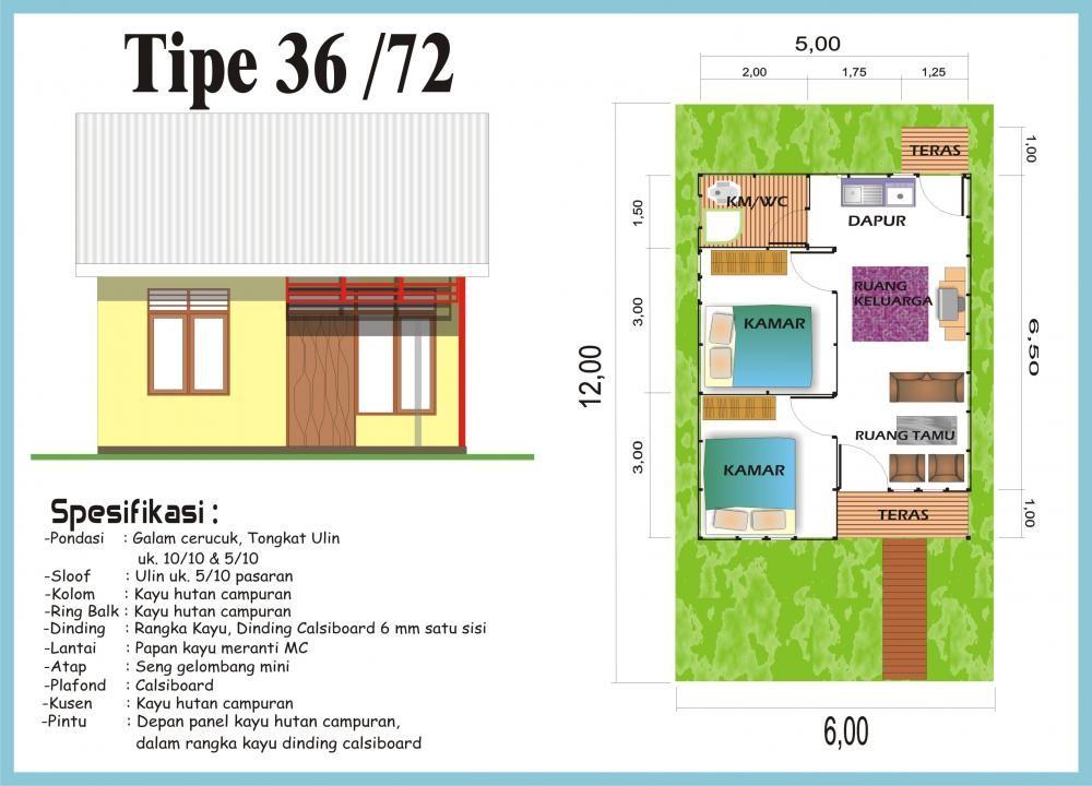 contoh gambar denah rumah minimalis type 36 4