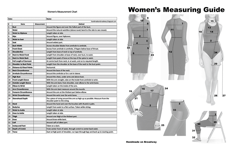 photo regarding Printable Measurement Charts titled Selfmade upon Broadway: Dimensions Chart for Girls: Fillable