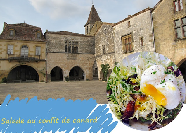 salade complète au confit de canard ou d'oie sans gluten, légumes du marché