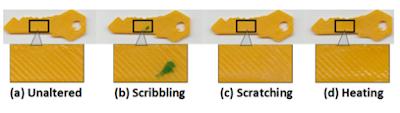 Figura 4 - Na chave inalterada(a) foram simulados marcas de tinta (b), arranhões (c) e derretimento superficial (d). Porém a identificação ainda foi 100% correta.