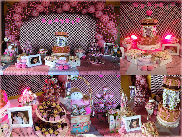 festa marrom e rosa, decoração festa em poá