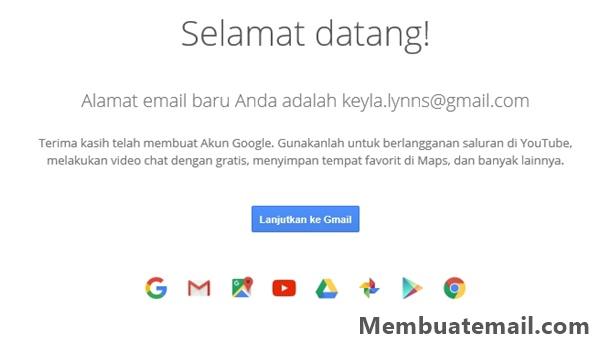 Email Baru Gmail anda berhasil dibuat