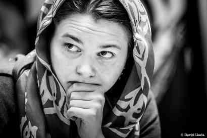 L'Ukrainienne Anna Muzychuk égalise dans la troisème partie de la finale - Photo © David Llada