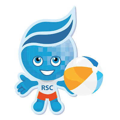 rio mascot Splash with a beach ball and swimming outfit
