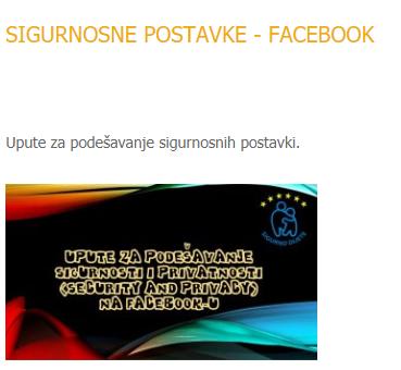 SIGURAN INTERNET - SIGURNOSNE POSTAVKE FACEBOOK