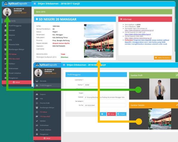 Foto profil pengguna dan sekolah