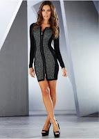 Rochie fermecătoare, cu inseraţii şic tricotate din fire elastice (bonprix)