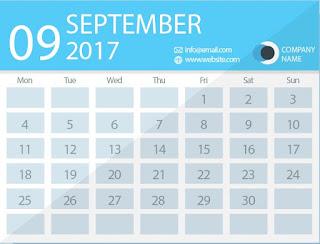 september 2017 timetable calendar