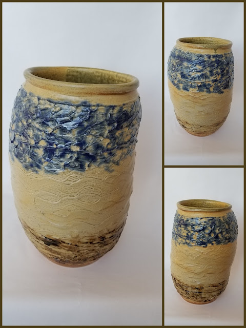 Large textured ceramic pot, pottery by Lily L.