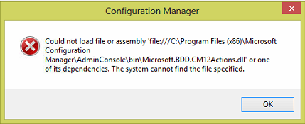 CM2012 Console MDT Integration Error Fix 1