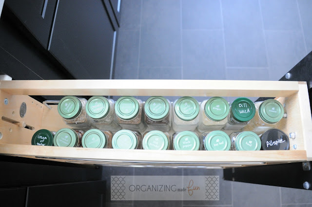 Pull out base cabinet spice drawer :: OrganizingMadeFun.com