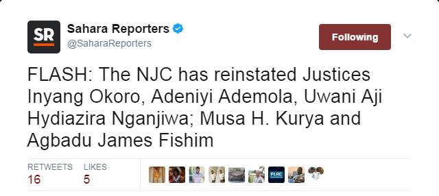 Adeniyi Ademola, NJC, News, Inyang Okoro, Reinstated,