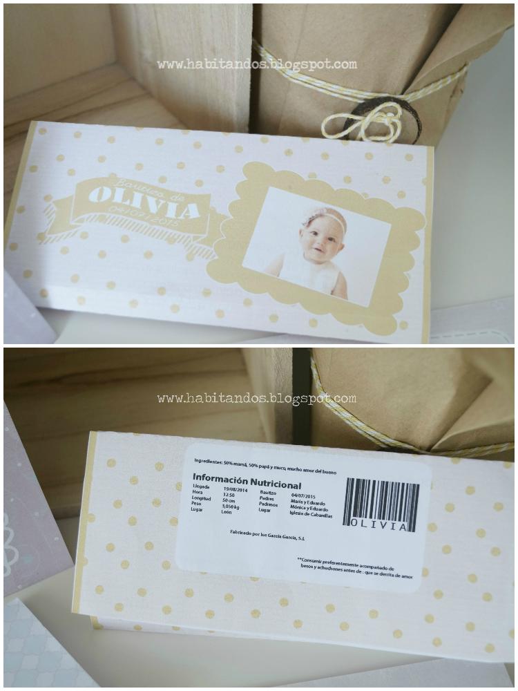 Chocolatinas personalizadas para bautizo diseño de Habitan2