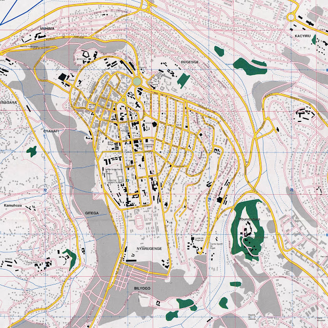 Mapa do centro da cidade de Kigali - Ruanda