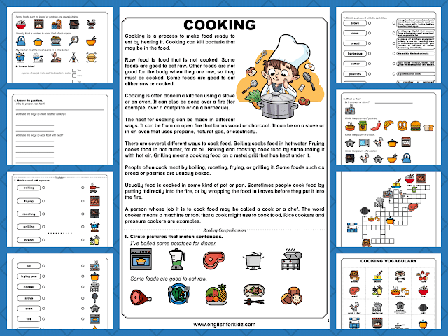 Cooking reading comprehension worksheets
