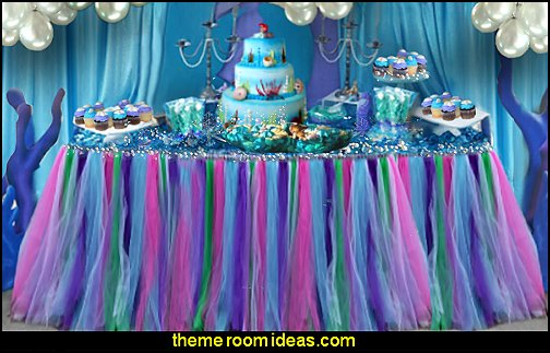 ariel party table decorations  mermaid party decorations - mermaid party ideas - mermaid themed birthday party - ocean theme party decorations - under the sea party - little mermaid birthday party ideas - beach party - water theme parties - mermaid table decor - party props  under the sea birthday party - under the sea theme party table