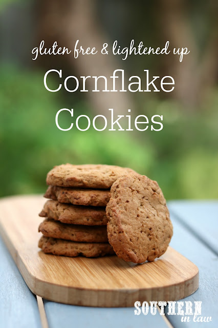 The Best Easy Cornflake Cookies Recipe. A slight more healthy version, these cookies are gluten free, lower in fat and sugar and nut free and still taste just as good as the classic recipe. Perfect for Christmas Cookie Exchanges, school lunchbox treats, cookie swaps, dessert and more!