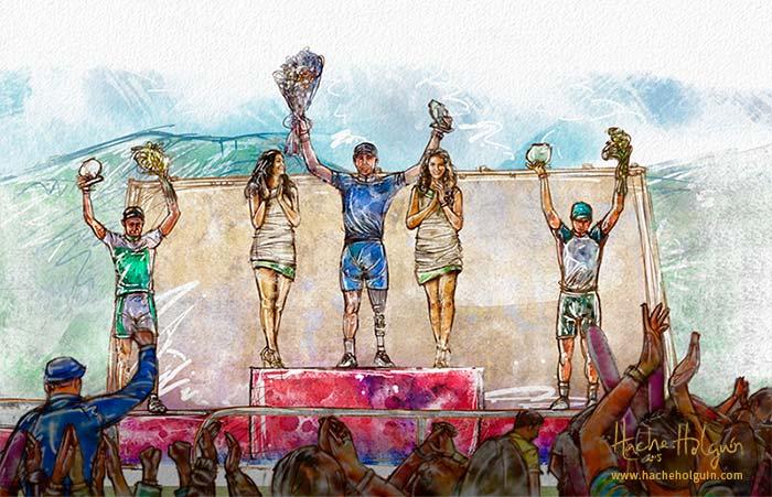 Ilustración de ciclista en el podio, recibiendo el trofeo de campeón